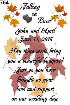 Wedding Favor Seed Packets Personalized Fall Love Custom Favors Set of 100