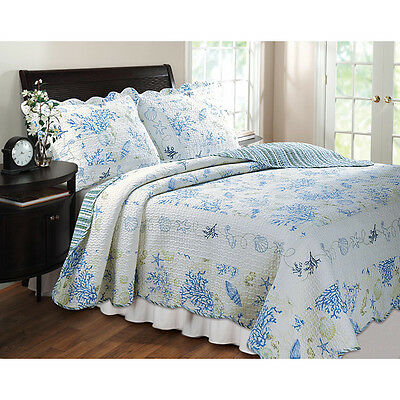 BEACH SEA SHELLS NAUTICAL TROPICAL COAST OCEAN BLUE WHITE QUILT FULL QUEEN