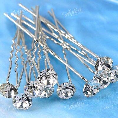 10P Clear Rhinestone Flower Hair Pins Clip On Fascinator for Bridal Wedding Gift