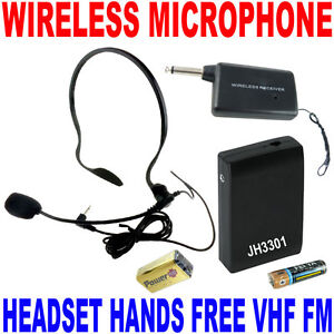 VHF-Stage-Wireless-Headset-Microphone-System-Mic-FM-Transmitter-Receiver