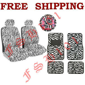 New-11PC-Set-White-Zebra-Tiger-Seat-Covers-Steering-Wheel-Cover-Floor-Mats-More