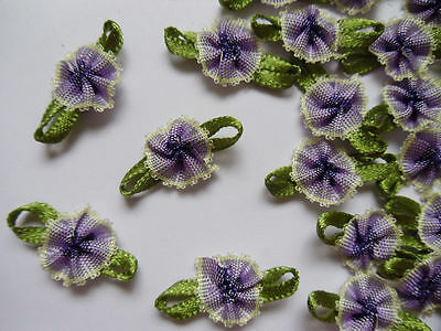 "7/8""(W) ombre Purple / Green Fancy Ribbon Flowers-Lots 48 pcs-R0072"
