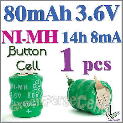 1 x Ni-MH 80mAh 3.6V button Rechargeable Battery w/ tab