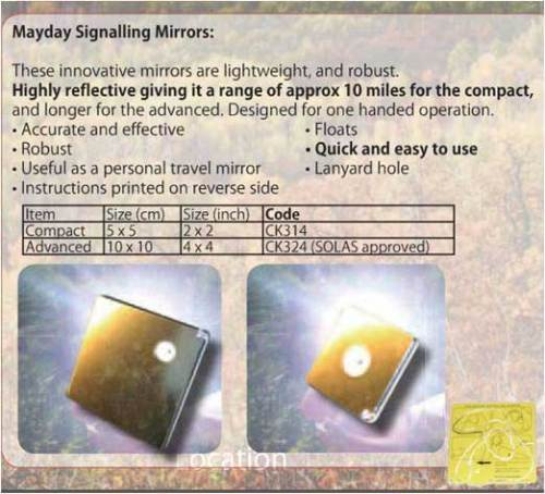 "New BCB COMPACT 2"" Mayday Heliograph Signalling Mirror"
