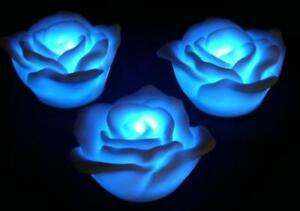 36-Battery-LED-ROSE-Floating-Tea-Light-Candle-BLUE-Battery-Op-Reuseable