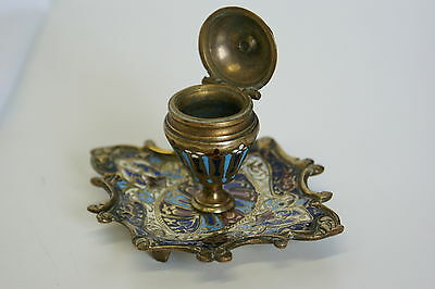 ANTIQUE FRENCH CLOISONNE ENAMEL BRONZE GILT INKWELL 19th Century