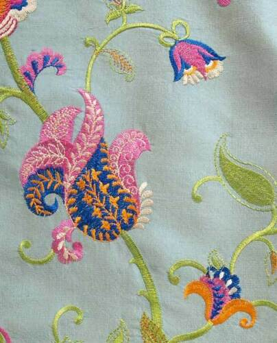 Embroidered, Shot Silk Fabric. Iridescent, Gray with Fantasy Flowers