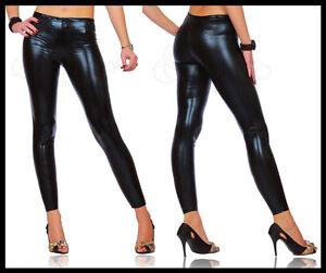 Sexy-Shiny-Wet-Look-Black-Full-Ankle-Length-Leggings-All-Sizes-HQ