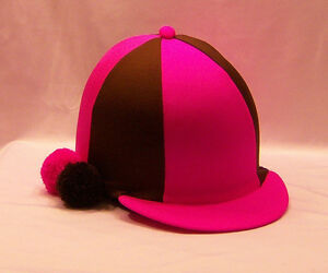 RIDING-HAT-COVER-FLUORESCENT-PINK-amp-BROWN