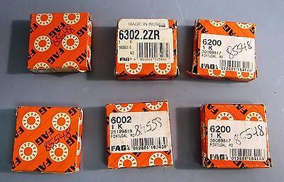 Lot of 6 Assorted FAG Ball Bearings Models 6200, 6002, 6302 2ZR, 6200 C3 NIB