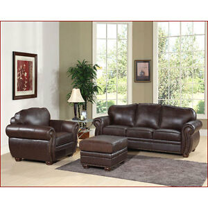 Dark-Brown-Italian-Leather-Sofa-Couch-Arm-Chair-Ottoman-Living-Room-Furniture