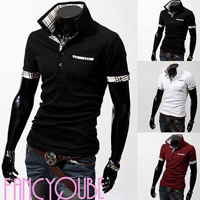 New Summer Casual Mens Stylish Slim Short Sleeve Turn-down Collar T-shirt Top