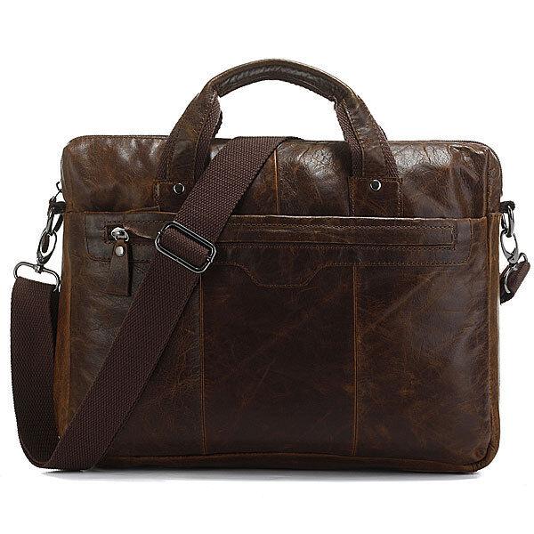 Classic Vintage Leather Men's Chocolate Laptop Hand Bag Briefcase Messenger
