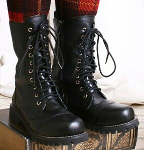 10-Hole-Punk-Rock-Biker-Engineer-Vegan-Faux-Leather-Boots-Maroon-Black-solid