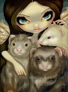 Jasmine-Becket-Griffith-art-print-SIGNED-Angel-with-Ferrets-fairy-pets-albino