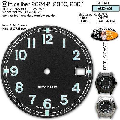 DIALS, ETA 2824, 2836,2804, SW 200, Ø 28.5 mm, 5 COLORS, SPORT-MILITARY