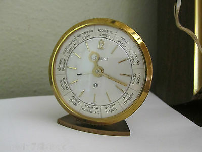 Vintage Jaeger Le Coultre 8 Day World Travel Desk Swiss Alarm Clock Works Great!