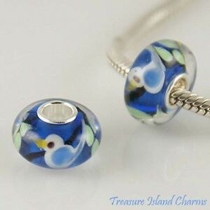 BLUE-BIRD-LAMPWORK-MURANO-GLASS-925-Sterling-Silver-EUROPEAN-Bead-Charm