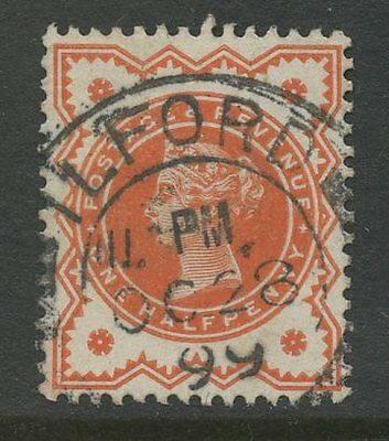 Essex ILFORD 1899 FULL UPRIGHT POSTMARK on QV 1/2d VERMILION