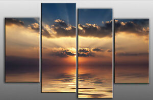 LARGE-CANVAS-WALL-ART-PICTURE-SUNSET-SEA-SPLIT-40-x28