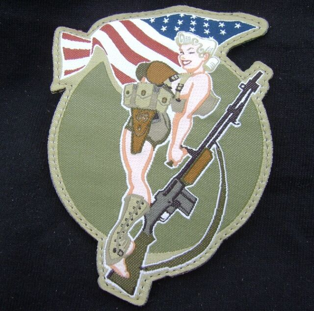WWII BAR GIRL PINUP USA ARMY MORALE TACTICAL COMBAT BADGE MULTICAM VELCRO PATCH