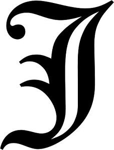 Old English Letter J Initial Decal 3 75