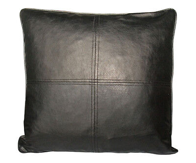 Faux Leather Deco Pillow 18x18 Self Cord Black Cushion