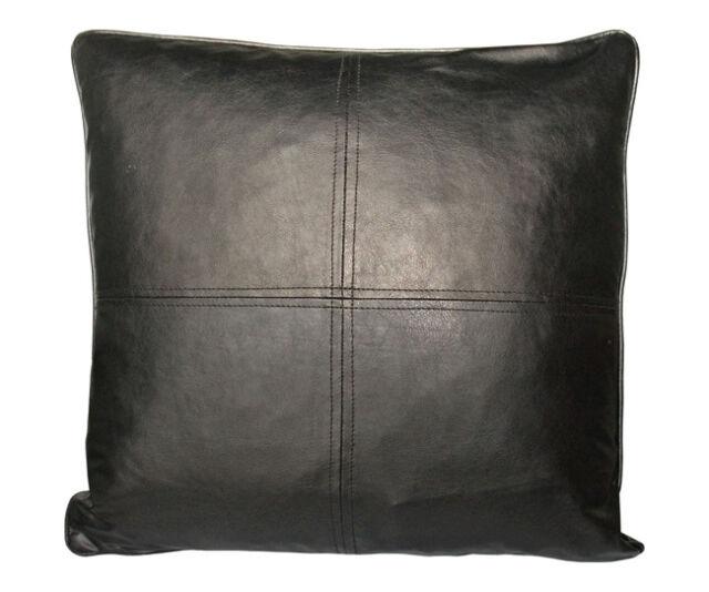 Faux Leather Deco Pillow 18x18 Self Cord Black Cushion