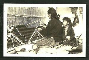 Navajo Indian Rug Weaver Woman Mullarky photo postcard 30s
