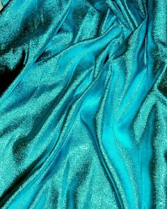 Lame metallic plain fabric turquoise 55 by the yard for Decor 55 fabric