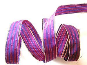 N-1293-8-50-m-de-cinta-CORAZONES-fucsia-en-VIOLETA-y-el-oro