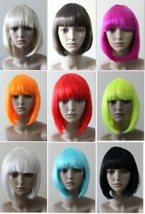 Black-White-Blonde-Brown-Red-Pink-Orange-Purple-Glam-Blunt-bob-with-fringe-wig