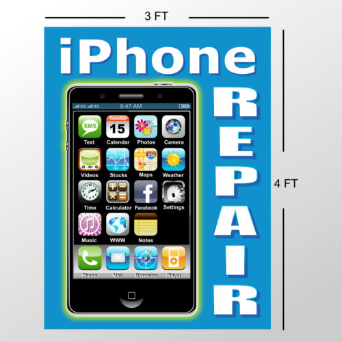 Banner Sign iPhone Repair Poster Computer Apple Cell Phone 4 4s 5 6 Plus SE 7 X