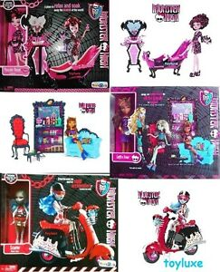 Monster-High-Draculaura-amp-Bath-Clawdeen-amp-Coffin-Bean-Ghoulia-amp-Scooter-Sets