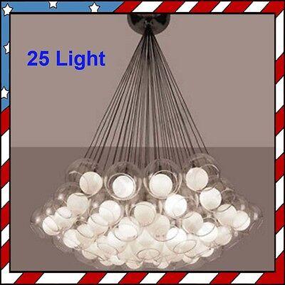 25 Light - Contemporary Glass Sphere Ball Ceiling Light Pendant Lamp Chandelier