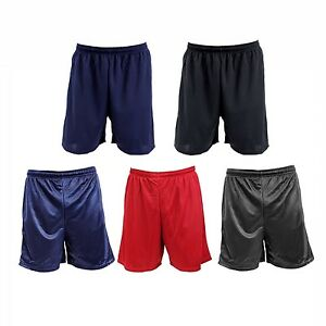 Mens-Athletic-Gym-Shorts-Drawcord-Waist-Mesh-Or-Knit-Polyester-Black-Or-Navy