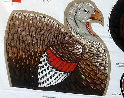 "Thanksgiving Holiday Turkey doorstop centerpiece fabric panel Cranston 13"" x 15"""