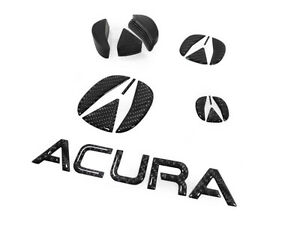 07-08-ACURA-TL-CARBON-FIBER-BADGE-DECAL-GRILL-BUMPER-TRUNK-STEERING-WHEEL-Type-S