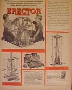 1955-Gilbert-Erector-Set-Ferris-Wheel-Robot-Action-Parachute-Jump-Kids-Toy-AD