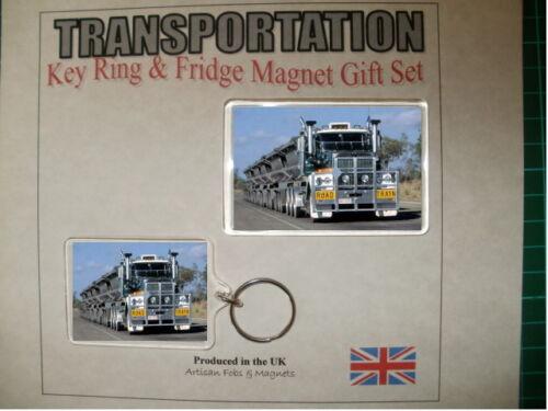 Roadtrain Truck Key Ring /& Fridge Magnet Set