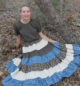 CUSTOM-Ladies-long-full-patchwork-tiered-skirt-modest-cotton-pick-size-amp-color