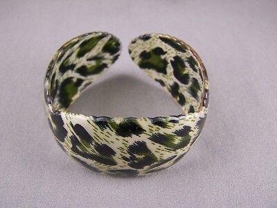 "Tan Green Black cheetah leopard big cat plastic bangle cuff 1 3/8"" wide bracelet"