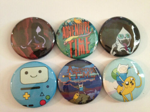 "Adventure Time set of 6 1"" pins buttons B-MO MARCELINE finn  jake MATHEMATICAL!!"