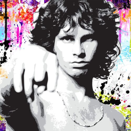 Jim Morrison The Doors-Musique Icône imprimer sur toile encadrée coloré Art mural