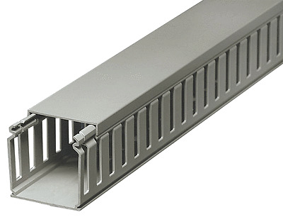 GREY PVC SLOTTED PANEL TRUNKING IN 2 METRE LENGTHS AND VARIOUS SIZES