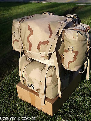 US ARMY military MOLLE 2 LARGE RUCK SACK DESERT BACK PACK FRAME SET w S. POUCHES