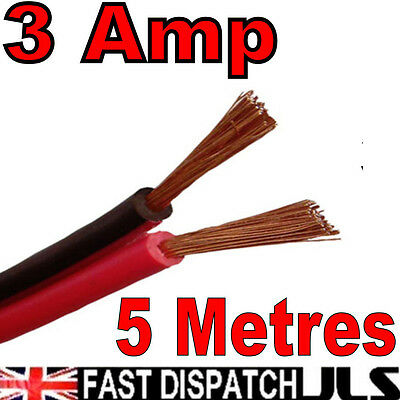 5m 3A Red + Black 12v DC 12 Volt Car Auto Cable Speaker Wire Figure 8 Marine