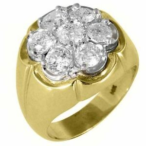 MENS-2-5-CARAT-DIAMOND-CLUSTER-RING-BRILLIANT-ROUND-CUT-7-STONE-14KT-YELLOW-GOLD