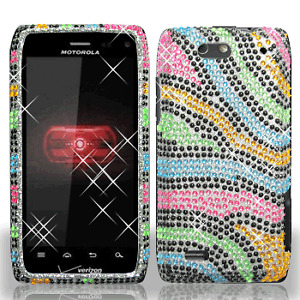 For-Motorola-DROID-4-Crystal-Diamond-BLING-Case-Snap-Phone-Cover-Rainbow-Zebra