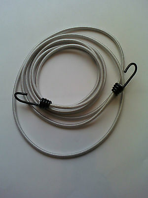 2m , 3m , 4m or 5m  - 6mm WHITE BUNGEE / SHOCK CORD WITH HOOKS EITHER END